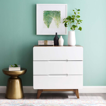 Origin Three-Drawer Chest or Stand MOD-6074-WAL-WHI Walnut White