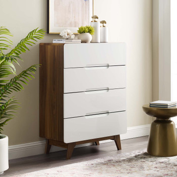 Origin Four-Drawer Chest or Stand MOD-6075-WAL-WHI Walnut White