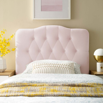 Annabel Twin Diamond Tufted Performance Velvet Headboard MOD-6126-PNK Pink