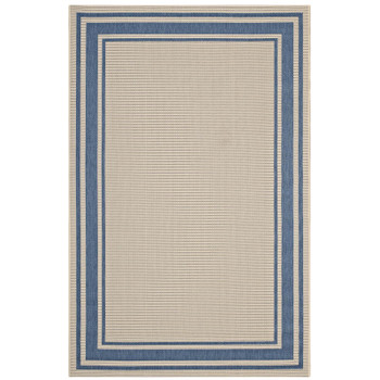 Rim Solid Border 5x8 Indoor and Outdoor Area Rug R-1140C-58 Blue and Beige