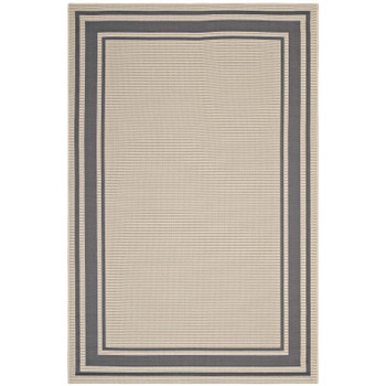 Rim Solid Border 5x8 Indoor and Outdoor Area Rug R-1140D-58 Gray and Beige