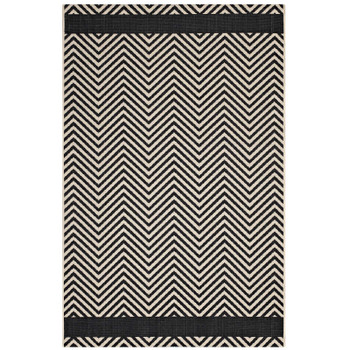 Optica Chevron With End Borders 5x8 Indoor and Outdoor Area Rug R-1141C-58 Black and Beige