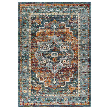Tribute Diantha Distressed Vintage Floral Persian Medallion 5x8 Area Rug R-1190B-58