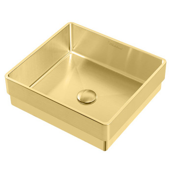 Noah Plus 10 gauge frame, Squared Semi-recessed Brass Finish Basin Set with center drain,WHNPL1577-B