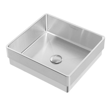 Noah Plus 10 gauge frame, Squared Semi-recessed Brushed Steel Basin Set with center drain,WHNPL1577-BSS