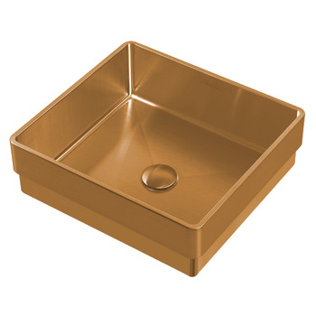 Noah Plus 10 gauge frame, Squared Coper Finish Semi-recessed Basin Set with center drain,WHNPL1577-CO