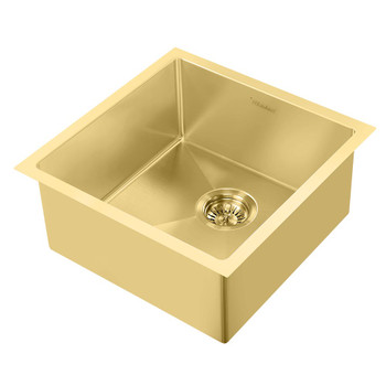 Noah Plus 16 gauge Single Bowl-Brass Finish- Linen Textured Dual-Mount Sink Set,WHNPL1818-B