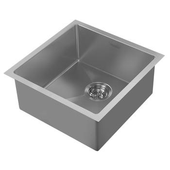 Noah Plus 16 gauge Single Bowl=Gun Metal Finish- Linen Textured Dual-Mount Sink Set,WHNPL1818-GM