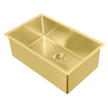Noah Plus 16 gauge Single Bowl Linen Textured Dual-Mount Sink Set in Brass Finish,WHNPL2918-B
