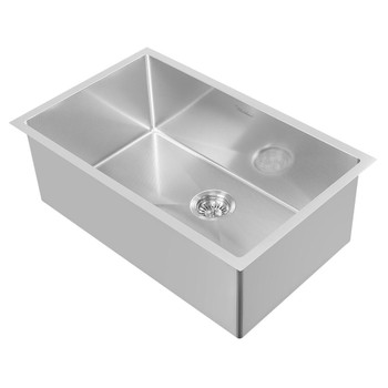 Noah Plus 16 gauge-Brushed Steel- Single Bowl Linen Textured Dual-Mount Sink Set,WHNPL2918-BSS