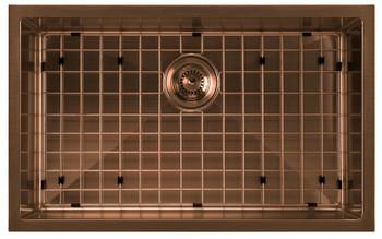Noah Plus 16 gauge-Copper Finish- Single Bowl Linen Textured Dual-Mount Sink Set,WHNPL2918-CO