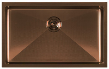 Noah Plus 16 gauge-Copper Finish- Single Bowl Linen Textured Dual-Mount Sink Set,WHNPL2918-CO