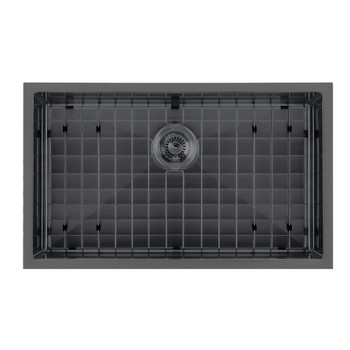 Noah Plus 16 gauge-Matte Black- Single Bowl Matte Textured Dual-Mount Sink Set,WHNPL2918-MBLK