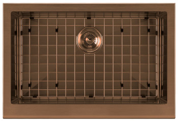 Whitehaus Noah Plus 16 gauge-Copper Finish- Single Bowl Undermount Sink Set with a seamless customized front Apron,WHNPL3020-CO