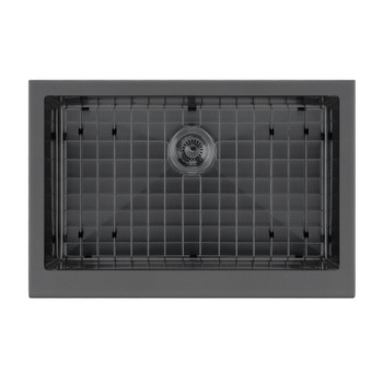 Whitehaus WHNPL3020-MBLK-Matte Black- Noah Plus 16 gauge Single Bowl Undermount Sink Set with a seamless customized front Apron