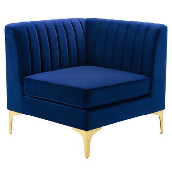 Triumph Channel Tufted Performance Velvet Sectional Sofa Corner Chair EEI-3983-NAV