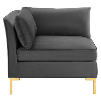 Ardent Performance Velvet Sectional Sofa Corner Chair EEI-3985-GRY