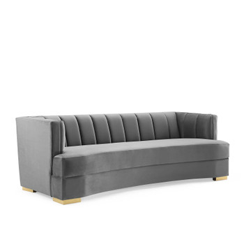 Encompass Channel Tufted Performance Velvet Curved Sofa EEI-4134-GRY