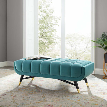 "Adept 47.5"" Performance Velvet Bench In Sea Blue EEI-4242-SEA"