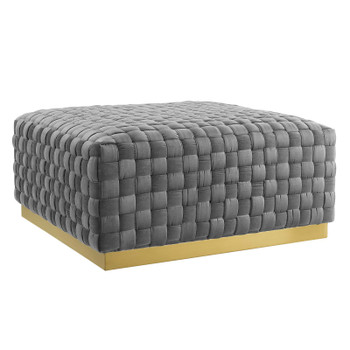 Florence Square Performance Velvet Ottoman In Gray EEI-4284-GRY