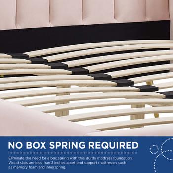 Lana Queen Performance Velvet Wingback Platform Bed in Pink MOD-6282-PNK