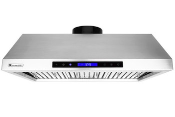 "XtremeAir PX12-U36, 36"", LED Lights, Baffle Filter W/ Grease Drain Tunnel, 1.0mm Non-Magnetic Stainless Steel,  Under Cabinet Mount Range Hood"