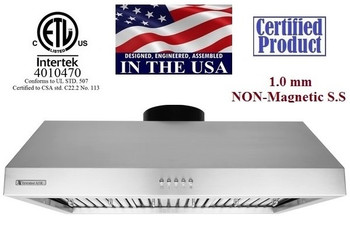 """XtremeAir Ultra Series UL11-U30, 30"""" width, Baffle filters, 3-Speed Mechanical Buttons, Full Seamless, 1.0 mm Non-magnetic S.S, Under cabinet hood"""