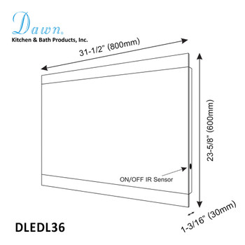 Dawn DLEDL36 LED Back Light Wall Hang Mirror with Matte Aluminum Frame and IR Sensor