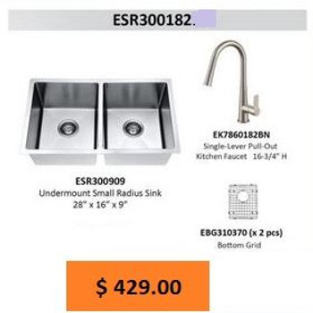 Daweier ESR300182-C Kitchen Sink Set Includes Sink,Faucet In Chrome with Bottom Grid
