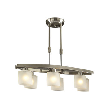 PLC 6 Light Pendant Wyndham Collection 649 SN In Satin Nickel Finish