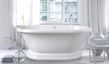 CLARKE Victoria With Base Free Standing Acrylic Bath Tub in White- T4066OFSB-01