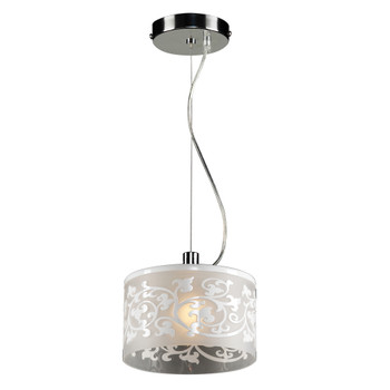 PLC 1 Light Mini Pendant Tuxedo Collection 81821 Polished Chrome With WHITE Frosted Glass