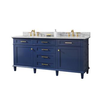 """Legion Furniture 72"""" Blue Double Single Sink Vanity Cabinet WLF2272-B"""