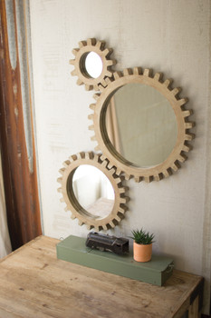 SET OF THREE WOODEN GEARS MIRRORS