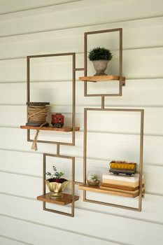 IRON AND WOOD WALL UNIT WITH 4 SHELVES