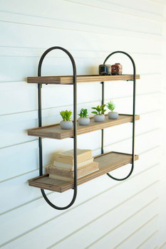 METAL FRAME WITH THREE WOODEN SHELVES