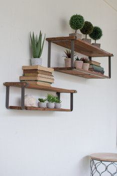 SET OF TWO RECYCLED WOOD AND METAL SHELVES