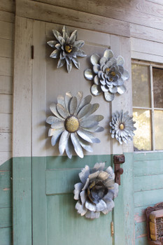 SET OF FIVE GALVANIZED METAL WALL FLOWERS