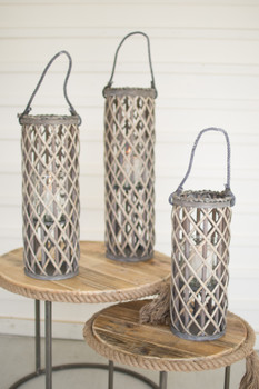 SET OF THREE WILLOW LANTERNS WITH GLASS - GREY