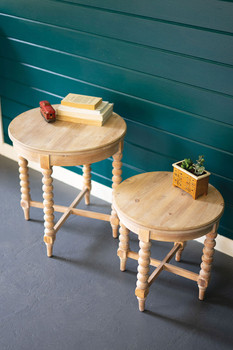 SET OF TWO ROUND WOODEN SIDE TABLES WITH TURNED LEGS
