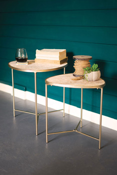 SET OF TWO NESTING WOOD AND METAL TABLES WITH GOLD FINISH