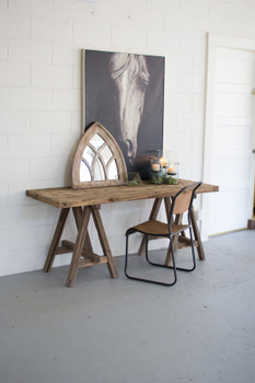 RECYCLED WOODEN DEEP CONSOLE WITH SAW HORSE BASE - CHH1000