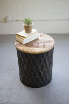 PRESSED METAL SIDE TABLE with MANGO WOOD TOP