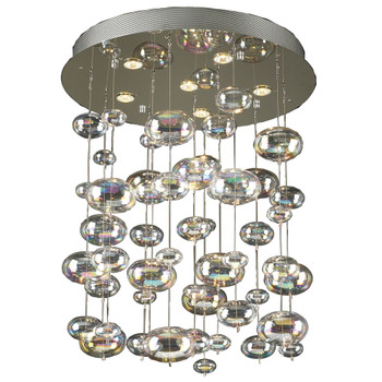 PLC 6 Light Chandelier Bubbles Collection 96964 PC In Polished Chrome