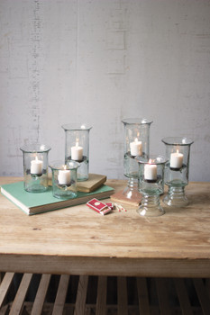 SET OF THREE RECYCLED GLASS VOTIVE CYLINDERS - CV501