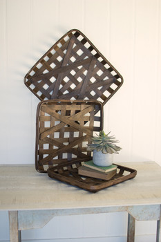 SET OF 3 DARK BROWN SQUARE WOVEN SPLIT WOOD BASKETS