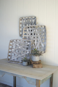 SET OF THREE GREY WASH SQUARE WOVEN SPLIT WOOD BASKETS