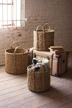 SET OF 3 ROUND BRAIDED SEAGRASS STORAGE BASKET WITH HANDLES