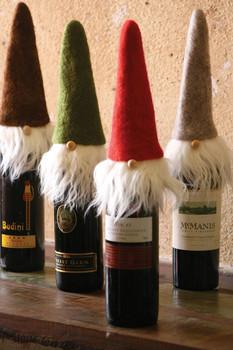"Set of 4 Felt Santa Wine Toppers Whispy Beards - 11"" Tall"
