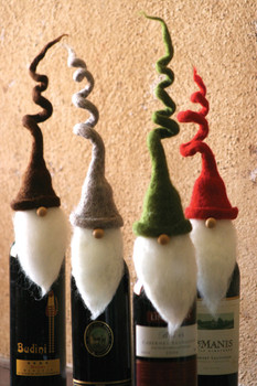 "Set of 4 felt Santa Wine Toppers With Curly Hats - 11"" Tall - CHB1116"